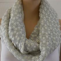 Women's Ivory Silver Metallic Simply Vera Wang Loose Knit Infinity Scarf Nwt 38 Photo
