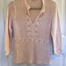 Women's J Crew 100% Cotton Romantic Blush Pink Crochet Sweater Size Xs Photo