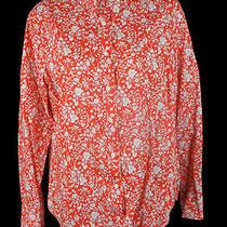 Women's J. Crew Slim Cotton Perfect Shirt Red Summer Bloom Shirt Blouse Top Sz 8 Photo