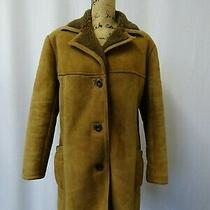 Women's Jack Bloom Brown Sheepskin Coat Size 14 Photo