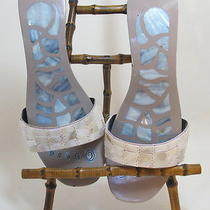 Women's Jean-Michel Cazabat Mother of Pearl Backless Sandal Heels Size 8 1/2m Photo