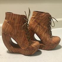Women's Jefferey Campbell Woodgrain Ankle Boots W/cut Out Platform-size8.5 Photo