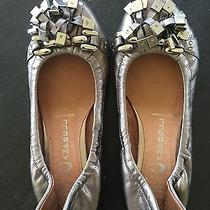 Women's Jeffery Campbell Pewter Studded Leather Ballet Flats Size 6 Photo