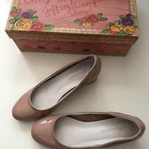 Women's Jeffrey Campbell Bitsie Patent Nude / Taupe Pumps Block Heel Sz 6 Photo