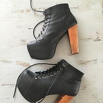 Women's Jeffrey Campbell Lita Platform Bootie Shoe - Size 7 Black Suede Photo