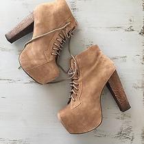 Women's Jeffrey Campbell Lita Platform Bootie Shoe - Size 7 Tan Suede Beige Photo