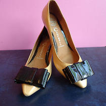 Women's Jeffrey Campbell  Patent Leather Yellow  Kitten Heels With Bow Size 8.5 Photo