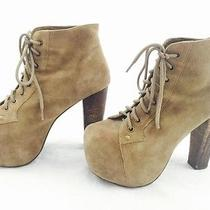 Women's Jeffrey Campbell Platform Tanbrown Suede Leather Booties Lita sz5.5 250 Photo