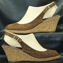 Women's Jeffrey Campbell Sissy Brown Nubuck Slingback Sandals Wedges Shoes 10 Photo
