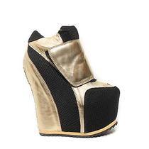 Women's Jeffrey Campbell the Succession Shoe in Gold and Black Size 10 Photo