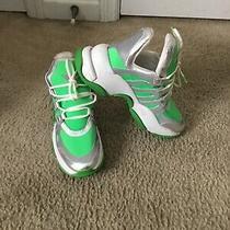 Women's Jeffrey Campbell Wifi Runner Platform Sneaker Green/silver Sz 9 Photo
