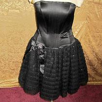 Women's Jessica Mcclintock Short Black Formal Prom Corset Top Dress Size 8  Photo