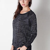 Women's Joie 'Ida' Metallic Woven Sweater Black Caviar Silver Top Xs 158 Nwot Photo