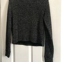 Womens Jumper Black Glitter Pattern Size Xs Stretch Loose Fit h&m Photo