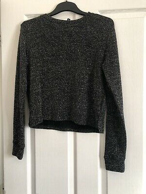 Women's Jumper, Black Glitter Pattern, Size XS, Stretch Loose Fit, H&M Photo