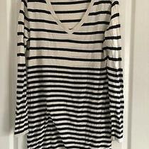 Womens Jumper Long Length White & Black Stripe Loose Fit h&m Size S Photo