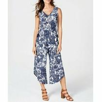 Women's Jumpsuit Style & Co Navy Blue Floral v-Neck Regular Size S Nwt 69.50 Photo