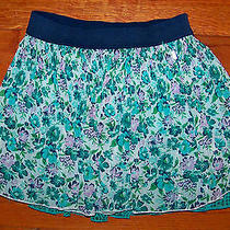 Women's Juniors Aeropostale Green Blue Aqua Teal Floral Mini Skirt Size Xs Photo