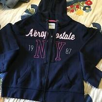 Women's Juniors Aeropostale Ny 1987 Navy Front Zip Hoodie Size L/g Vguc  Photo