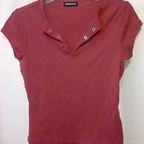 Women's Juniors Express Red Blouse Top Shirt Grommets Along Neckline  Photo