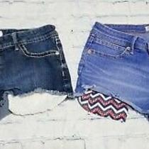Women's Juniors Lot of 2 Denim Jean Shorts Sz 11 Lace Red White Blue Pockets  Photo