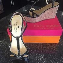 - Women's Kate Spade Black Patent T-Strap Sandals Wedges Size 7 Photo