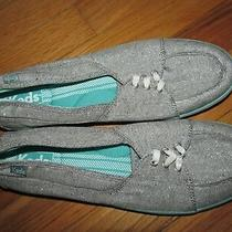 Women's Keds Silver Lace Canvas Sneakers Size 10 New Photo
