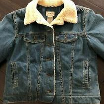 Women's L.l. Bean Sherpa Lined Denim Jacket Excellent Size L Photo