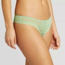Women's Lace & Dot Mesh Thong Auden Lime Green Panties New Size Small Photo