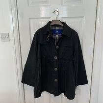 Women's Ladies Burberry Blue Label Jacket Coat Size Uk 8 Small Black Nova Check Photo