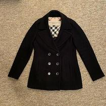 Women's Ladies Burberry Brit Pea Coat Jacket Size Small Uk 8 Black Nova Check Photo