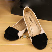 Women's Ladies Flat Pump Shoes Leisure Sweet Elegant Bowknot Imitation Leather Photo