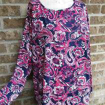 Women's Lands End Navy Blue Multi Color Printed Top / Blouse Plus Sz 2x 20-22w Photo