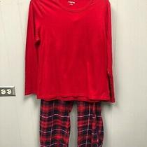 Womens Lands End Pajama Set Large Red Top Plaid Pants Nwot Photo
