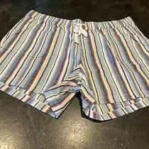Women's Lane Bryant Blue Black White Striped Linen Blend Chino Shorts Size 18/20 Photo