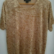 Women's Lane Bryant Rayon Blend Velvety Print Beigegold Silky Stretchy Top 14/16 Photo