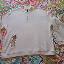 Women's Large Liz Claiborne Liz Gold Sweater Zipper Neck Golf Bag Patch Elbows Photo
