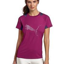 Women's Large Puma Logo Tee Shirt Clover-Nightshadow Blue Photo
