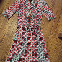 Women's Laundry by Shelli Segal Red & White Geo Print Belted Poly Work Dress 2 Photo