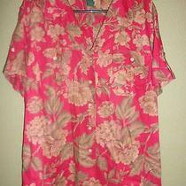 Women's Lauren Ralph Lauren Red Floral Linen Button Front Shirt Sz 2x Photo