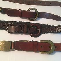 Women's Leather Brown Belts Fossil  Other Brands Belts Size 40-43 M/l Set of 3 Photo