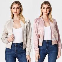 Women's Light Long Sleeve Floral Jacket Front Zipper Tan & Blush S M L  Photo