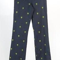 Women's Lilly Pulitzer Blue Twil Pant With Embroidered Clovers Size 0 Photo