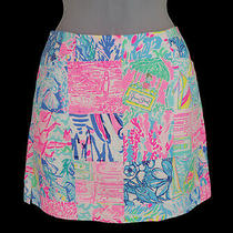 Women's Lilly Pulitzer Hot Pink Blue Green Yellow Patch Print Skort Size 2 Photo