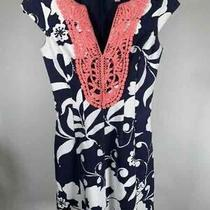 Women's Lilly Pulitzer Navy Blue/coral Floral Casual Dress - Size X-Small Photo