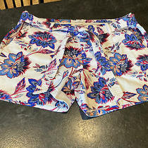 Women's Liz Claiborne White Blue Red Flowers Flat Front Chino Shorts Size 18 Photo