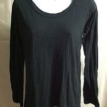 Women's Lna Black Crewneck Long Sleeve Hi Low Hem Tee Shirt T-Shirt Size L Photo