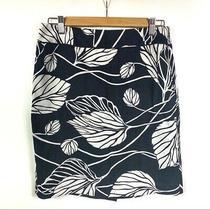 Women's Loft Ann Taylor Leaf a-Line Silk Blend Skirt Black & White Size 6 Photo