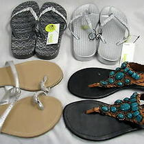 Women's Lot of 4 Flip Flop Sandals Size 9 Capelli Rampage Enzo Angiolini  Nwt Photo
