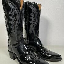 Womens Lucchese Boots Dee Black Patent Leather Shiny Handmade Size 8 n4806.53 Photo